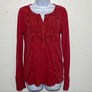 Lucky Brand Faded Red Thermal Popover Long Sleeve